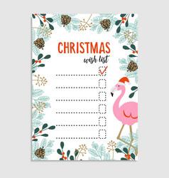 Cute christmas card wish list flamingo vector