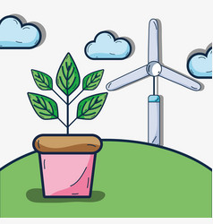 Cute ecology plant with windpwer and mountain vector