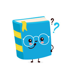 Cute happy smiling book with question marks vector
