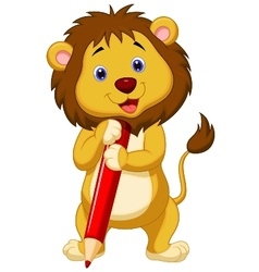 Cute lion cartoon holding red pencil vector