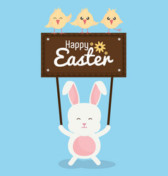 Cute rabbit with chicks and easter label vector