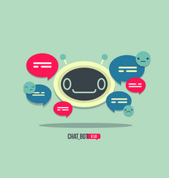cute robot icon with speech bubble support service vector image