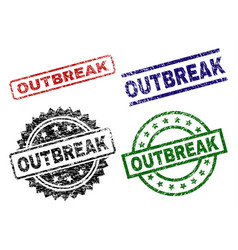 Damaged textured outbreak seal stamps vector