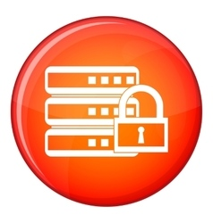 Database with padlock icon flat style vector