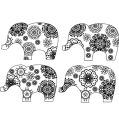 Decorative elephant silhouette vector