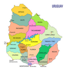 detailed map of uruguay with regions vector image