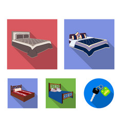 different beds flat icons in set collection for vector image