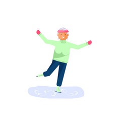 elderly woman character skates vector image