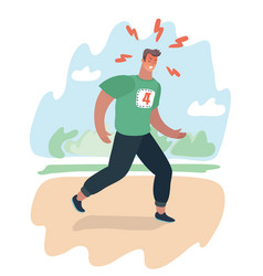 exhausted man jogging in park does vector image
