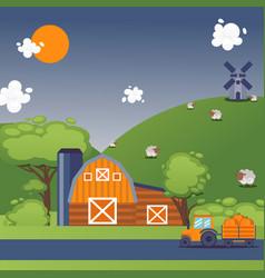 farmland summer landscape vector image