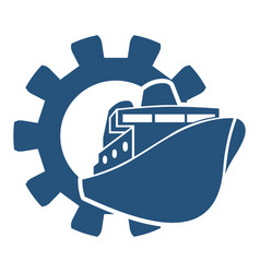 ferry boat icon in gear vector image