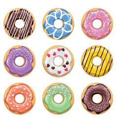 flat style icons of colorful donuts vector image