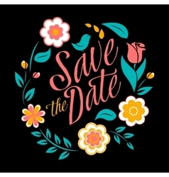Flower wedding invitation card save the date vector image