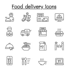 Food delivery icons set in thin line style vector