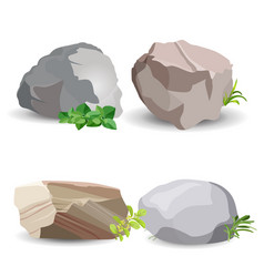 Four boulder stones with green grass isolated vector