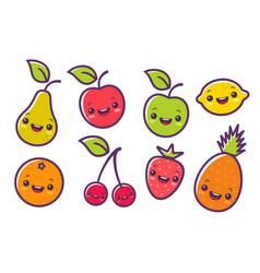 Fruits in kawaii style vector