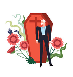 Funeral ceremony person grieving by coffin of vector