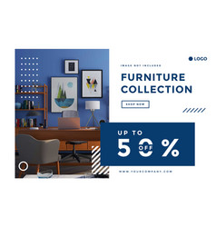 Furniture social media promotion landing page ad vector