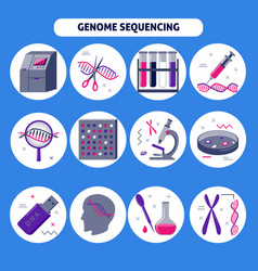 genome research icon set in flat style vector image