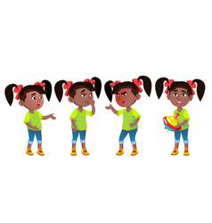 Girl kindergarten kid emotions set black vector