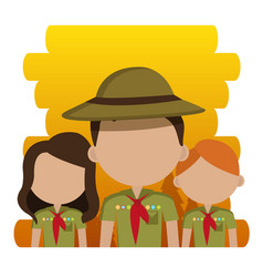 group of scouts characters vector image