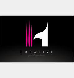 H white and pink swoosh letter logo letter design vector