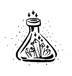 Hand drawn witch and magic flask potion vector