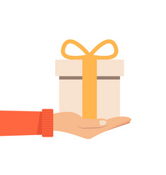 Hand holding or offering gift with orange bow or vector