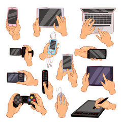 hands with gadgets hand holding phone vector image