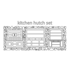 Hutch buffet set with dishes different bottles vector