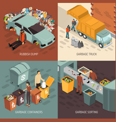 isometric garbage recycling design icon set vector image