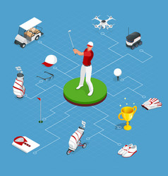 isometric set of golf elements equipment for vector image