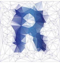 Letter R low poly vector