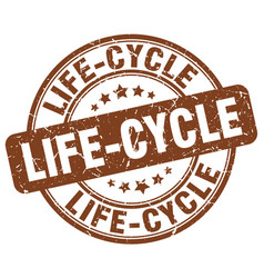 life-cycle brown grunge stamp vector image