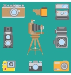 Line flat color icon set with retro analog vector