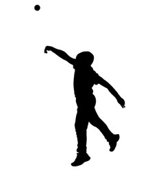 little boy throw tennis ball silhouette vector image