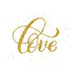 love hand written lettering golden inspirational vector image