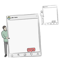 Man holding blank sign with social media vector