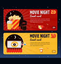 movie night horizontal banners vector image