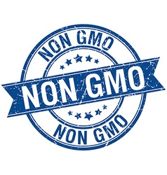 Non gmo grunge retro blue isolated ribbon stamp vector