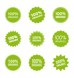 organic logo icon set healthy food labels vector image