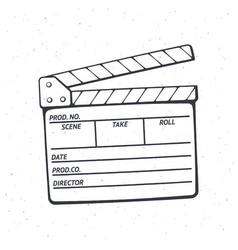 Outline open movie clapperboard vector