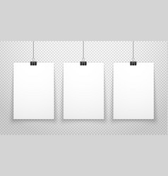 paper poster white blanks sheets hanging on wall vector image