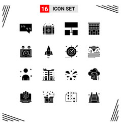 Pictogram set 16 simple solid glyphs of vector