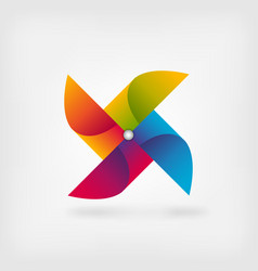 Pinwheel symbol in rainbow colors vector