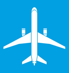 Plane icon white vector
