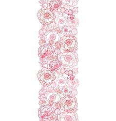 Poppy flowers line art vertical seamless pattern vector image