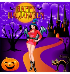 Postcard on Halloween girl vector