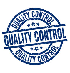Quality control blue round grunge stamp vector