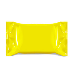 realistic yellow blank template packaging foil for vector image